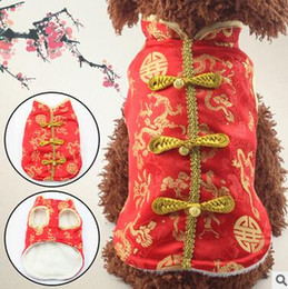 Wholesale Pet Tang Suit - 2017 New Pet Dog Traditional Chinese Style Double Thickening Tang Suit Pet Festival Dress Dog Cheongsam