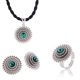 Wholesale Light Blue Stone Jewelry - New Arrival Sliver Color White gold Ethiopian Jewelry sets pendant earrings ring With Bule Green Red Stone African Habesha Gift