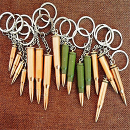 Wholesale Metal Keyring Chains - Fashion Keyring Key Accessories Creative Mini Gadget Metal Key Chain Bullet Artificial Pistol Bullet Keychain Fashion Accessories DHL Free