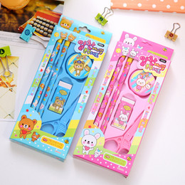 Wholesale High Quality Favors - Wholesale- Hot Sale High Quality Candy Color Stationery Set Kids Student Study Favors Safety Stationery Decorations Learning Supplies