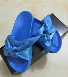 Wholesale Solid Color Brown Bow Ties - 2017 New kids Bowtie Slippers Arrive rihanna Fenty Bow tie slides kids Ms indoor bowtie fashion Fenty Rihanna sandals