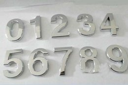 Wholesale Wholesale House Numbers - High quality Modern Silver House Door Address Number Digits Numeral Plate Plaque Sign Size 50x30x6mm Convenient Room Gate Number 500pcs