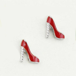 Wholesale Memory Charms - 20pcs lot free shipping good quality new type alloy red high heel shoes floating charms for glass living memory lockets