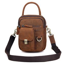 Wholesale Leather Bag Moq - man small bag cross body retro casual style genuine leather shoulder hand bag for man MOQ 1 PCS 20x15.5 CM