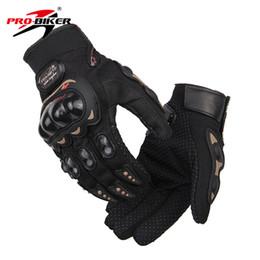 Wholesale Wholesale Long Leather Gloves - Wholesale- PRO-BIKER Aniti-Skid Men Motorcycle Long Fingers Gloves Motorbike Guantes Motocross Gants Moto Protective Gear Motorsiklet