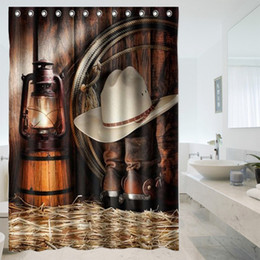Al por mayor-Venta caliente Custom American West Cowboy baño cortinas de ducha a prueba de agua cortina de baño baño decoración desde fabricantes
