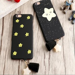 Wholesale Ornaments For Cell Phones - 2017 new deft design Creative star ornaments tassel matte protective back cover black cell phone cases