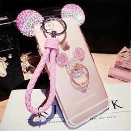 Wholesale Cute Chinese Girls - For iPhone 5 5S 6 6S 7 Plus For Samsung S7 edge Cute Mouse ear Bling Diamond girls phone case with finger ring lanyard Rope handmade DIY