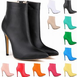 Wholesale High Heel Pump Boots - NEW ARRIVED Sexy Womens MATT LEATHER High Heels STILETTO CASUAL POINTED TOE ANKLE Boots Shoes Women Pumps US Size 4 5 6 7 8 9 10 11 D0008