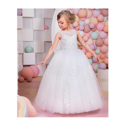 Wholesale Glamorous Days - 2017 Junoesq Glamorous Lace Up Flower Girl Dress New Ball Gown Lace Sleeveless First Communion Dress for Kids Girls Vestidos
