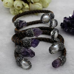 Wholesale cuff leather bracelet stones - fashion natural Amethyst and pearls stone leather bangle bracelet jewelry for women 5piece lot free shipping