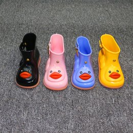 Wholesale Rain Duck - Childrens rain boots Korean version of non-slip water shoes solid color short-sleeved students rubber duck mouth rain boots