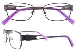 Wholesale Purple Glass Cleaner - Oval Metal Glasses Frame Purple Color Italy Design Eyewear Women Hollow Metal Temple RX Eyeglass Clean Lens B05051