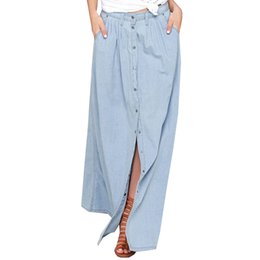 Faldas maxi jeans online-Venta al por mayor envío gratis verano 2016 mujeres Falda larga del dril de algodón Femme flojo ocasional de cintura alta solo pecho Maxi Jean falda Saias 3XL
