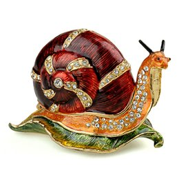 Wholesale Novelty Jewelry Boxes - Pewter collectibles Snail Trinket Jewelry Box novelty gifts