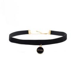 Wholesale Gold Chain Short Choker Necklace - Hot Sale Twelve Constellations Alloy Pendant Short Necklace Jewelry Wholesale Velvet Collar Necklaces Pendants for Women