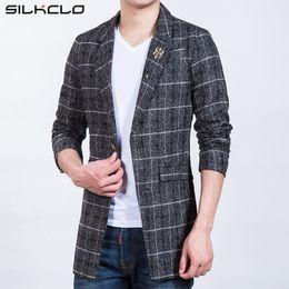 Wholesale Popular Blazers - Wholesale- 2016 Autumn Brand Clothing Plaid Men's Long Blazers Trench Coat Business European Slim High Quality Wind Popular Men's Jackets
