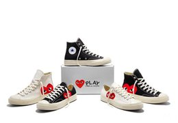 Wholesale Play Canvas - 2017 Hot sale With Double Box CDG Play x Chuck Taylors Material OX Addict Couple Canvas Shoes Top quality Men Womens Casual Shoes 35-44