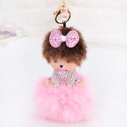 Wholesale Kawaii Rhinestones - Kawaii Monchhchi Doll with Fluffy Ball Rhinestone Keychain Car Keyring Women's Girl's Handbag Pendant Charms Best Gift
