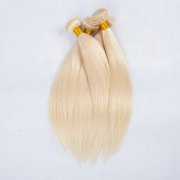 Wholesale Virgin Russian Hair Bundles - European blond #613 Straight virgin hair 100% Unprocessed Remy Human Hair weave white Blonde Straight 3 bundles virgin Hair