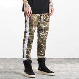 Wholesale Open Leg Pants - Camouflage Men Side Stripe Joggers Pants Fashion High Street Cargo Pants Hip Hop Sweatpants Side Zipper Leg Opening