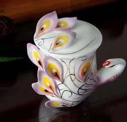 Wholesale Enamel Peacock Cup Set - Enamel Porcelain Peacock Coffee Cup Creative Ceramic Mug 3D Color Office Home Cup Coffee Tea Sets & Teacup