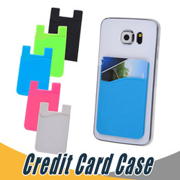 Wholesale Blackberry Credit Card - Ultra-slim Self Adhesive Credit Card Wallet Card Set Card Holder Colorful Silicon For Smartphones For iPhone 7 6S Sumsung S8