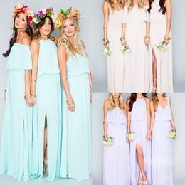 Wholesale Chiffon Wedding Dress Slits - 2017 New Summer Beach Bohemian Bridesmaid Dresses Mixed Style Chiffon Side Slit Long Chiffon Boho Maid of Honor Wedding Guest Dress Cheap