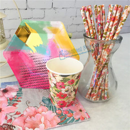 Wholesale Cup Party Supplies - Wholesale- 48 Sets Floral Paper Tableware Country Chic Party Supplies Flower Straws Hexagon Foil Paper Plates Cups First Birthday Decor
