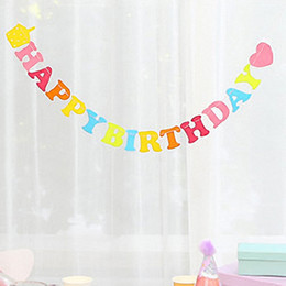 Wholesale Wholesale Pennant Strings - Wholesale- 5pcs Princess Happy Birthday Letters Nonwovens Heart String Banner Kids Photo Prop Party Pennants Rainbow Personalized Garlands