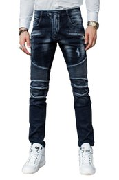 Wholesale Flying School - Wholesale-NWT BP Men's Fashion Runway Biker Slim Stretch Old School Washed Blue Jeans Size Men's Cool Motorcycle Casual Jeans Man Trousers