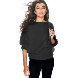 Wholesale Womens Off Shoulder Sweaters - Wholesale- Womens Ladies Off Shoulder Knitted Oversize Casual Sweater Jumper Top Knitwear