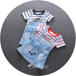 Wholesale Denim Girls Striped Dress - DHL Free 2017 Spring Summer Autumn Girls Denim Suspender Skirt False Two-piece Dress Kids Baby Overalls Dresses Children Clothing