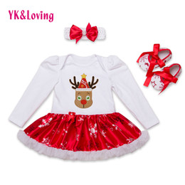 Wholesale Girls Satin Rompers - Wholesale- 2016 Christmas Cotton White Long Sleeve Girl Rompers Dress Baby Girls Clothes Sets 3pcs Newborn Jumpsuit Infant Clothes