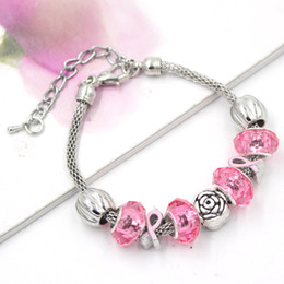 Wholesale New Arrival European Style Breast Cancer Awareness Jewelry Rose Pink Ribbon Breast Cancer Bracelets for Breast Cancer Awareness Gift