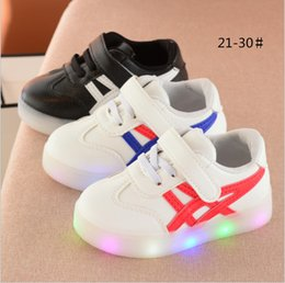 Wholesale Cheap Platforms - China wholesale cheap 2017 autumn fashion casual striped light up led shoes for kids boy girl flat platforms rubber white black 5.5-12 size