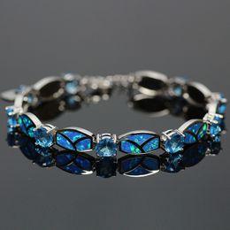 Wholesale Sterling Silver Stamping - Wholesale-Blue Opal Gem Crystal Charm Bracelets Silver Plated 925 Stamped Bracelets & Bangles For Women Bijoux Pulseira Feminina SL048