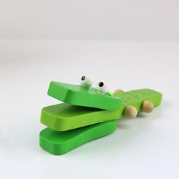 Wholesale Wholesalers Musical Instruments - Wooden Cartoon Orff Percussion Instruments Green Crocodile Handle castanets knock musical toy for Children Gift Baby Wood Music Toys
