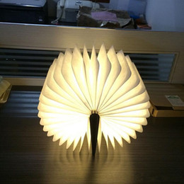 Wholesale Red Lead Books - USB Rechargeable Wooden Folding LED Night Light Reading Book Light 500 Lumens Desk Lamp Red Blue Green Warm White Light Table Lamps