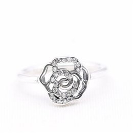 Wholesale 925 ale sterling silver pandora - Ale Rose Charm Ring Size Marked Stunning CZ Solid 925 Sterling Silver European Style Jewelry Findings For Pandora
