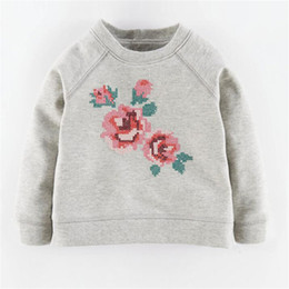Wholesale Cute Clothes For Girls 3t - Flower Girls T Shirts Long Sleeve Cotton Kids Tees for Spring and Fall Cute Grey Clothes for Children