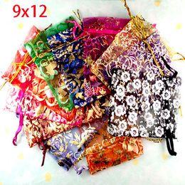 Wholesale Organza Bags 12x9cm - Wholesale- Free Shipping 100pcs Random Mixed Drawable Organza Wedding Gift Bags&Pouches 12x9cm(w00460)