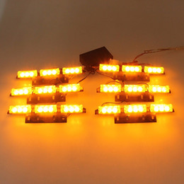 Wholesale 12v Strobe Light Yellow - New 54 LED Emergency Car Strobe Lights yellow Automotive Explosive Flash Lamp