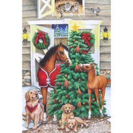 Wholesale Horse Wall Lights - Christmas Tree Horse Diamond Painting 5D Diamond Mosaic Rhinestone Cross Stitch Embroidery Home Wall Decor Handmade(Free Shipping)