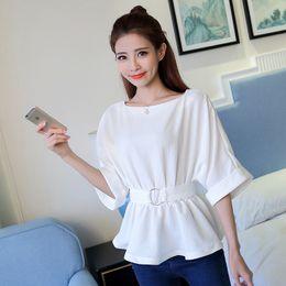 Wholesale Korean Ladies Chiffon Ruffle Blouse - 2017 New Sashes Chiffon Blouse Ruffle Slash Neck Female Ladies Casual Shirt Peplum Tops Plus Size Korean Fashion Clothing