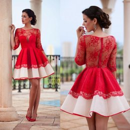 Wholesale Lace Satin Short Robes - Robe De Cocktail Dresses With Knee Length Red Lace Satin Half Sleeves Applique A Line Vestido De Feista 2017 Homecoming Dresses BA3268