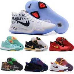 Wholesale Halloween Ties - Newest Kyrie 3 Irving Glod Tie Dye Bhm Men Basketball Shoes Black Ice White Chrome Crossover Huarache Cavs Kyrie Irving 3s Sports Sneakers