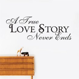 Wholesale Modern Love Story - A true Love story Never ends Wall Stickers Decals Walls Vinyl Removable Murals Wedding decoration