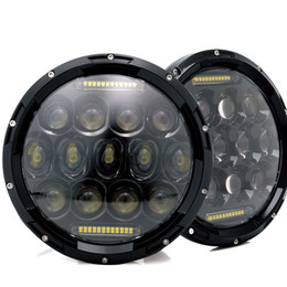 """Wholesale Halo Headlamps - 7"""" 75W LED Headlights Bulb Halo DRL for Jeep Wrangler JK CJ Hummer H1 H2 LED Headlamp Projector Driving Lamps Harley Motorcycle Headlight"""