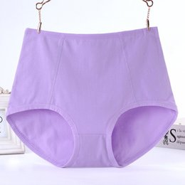 Wholesale Cotton Panties For Women - Plus-size Pure Color Lace Panties Large Size Pure Cotton Briefs Women High Waist Underwear XL Size Undies X-Large Hiphuggers for Female